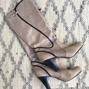 Gray Leather Heeled Boots